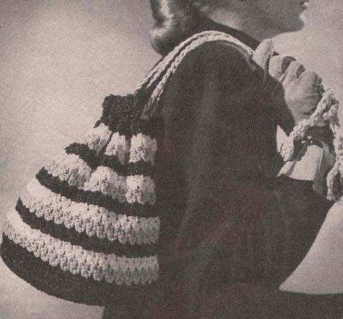 Striped Carry-All Crochet Drawstring Bag Purse Handbag Pattern  by  Hollywood Patterns