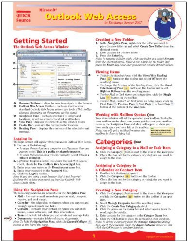 Microsoft Outlook Web Access in Exchange Server 2007 Quick Source Guide Quick Source