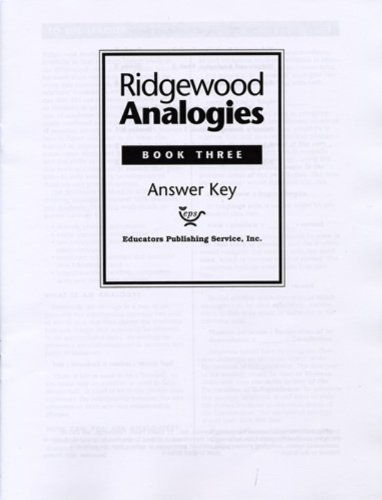 Ridgewood Analogies, Book Three, Answer Key Inc. Educators Publishing Service