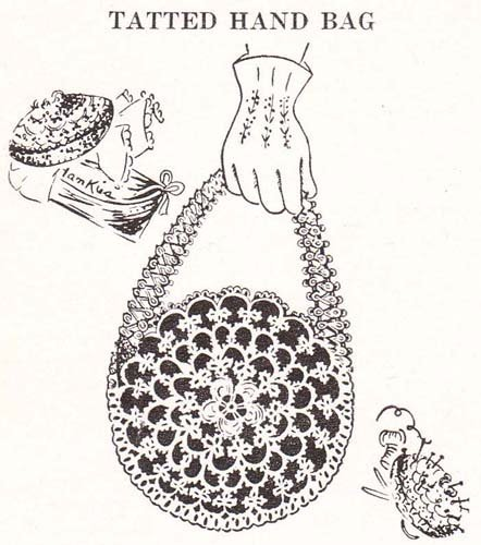 Tatted Hand Bag Purse Tatting Pattern  by  Unknown