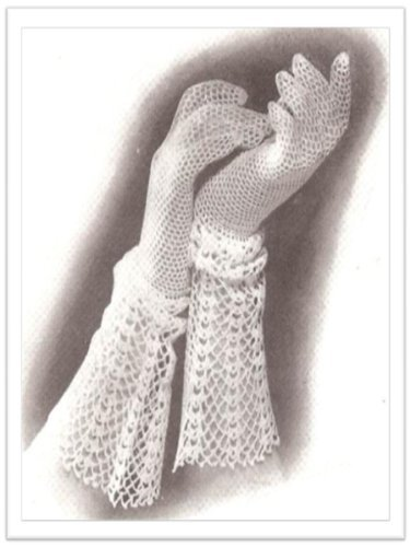 #2033 GLOVE WITH LACE CUFF VINTAGE CROCHET PATTERN Princess of Patterns