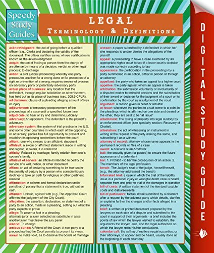 Legal Terminology and Definitions  by  Speedy Publishing