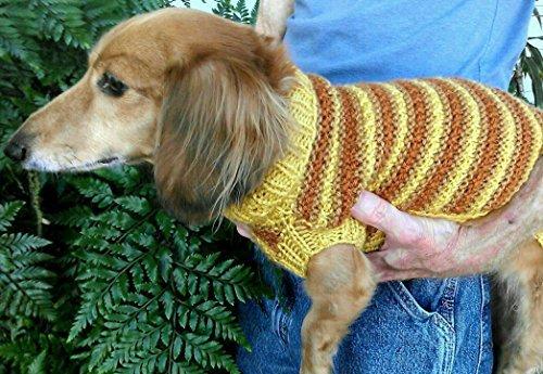 Lenas Textured Stripe Miniature Dachshund Sweater  by  Marcia McCormack