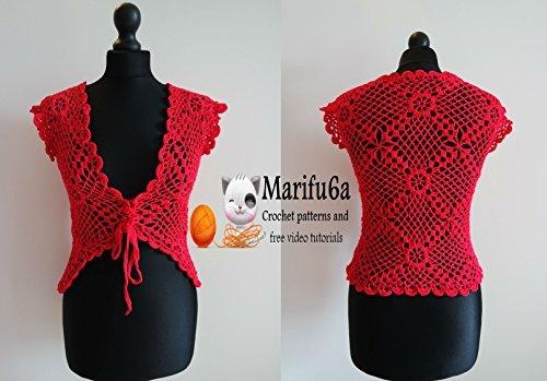 red crochet jacket bolero pattern  by  marifu6a: red crochet jacket bolero by marifu6a by marifu6a