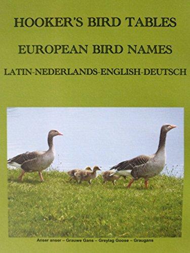 Hookers Bird Tables European Bird Names: Latin Nederlands English Deutsch  by  John Hooker