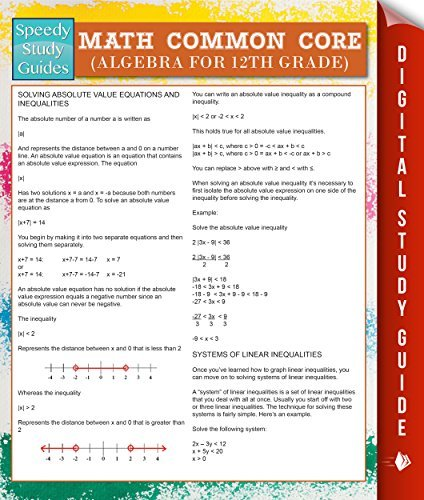 Math Common Core (Algebra for 12th Grade) (Speedy Study Guides) Speedy Publishing