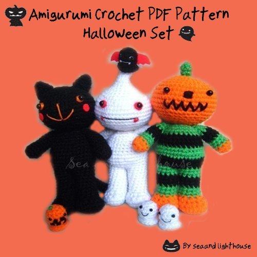 Halloween Set Amigurumi Crochet Pattern seaandlighthouse (K.Wanherm)