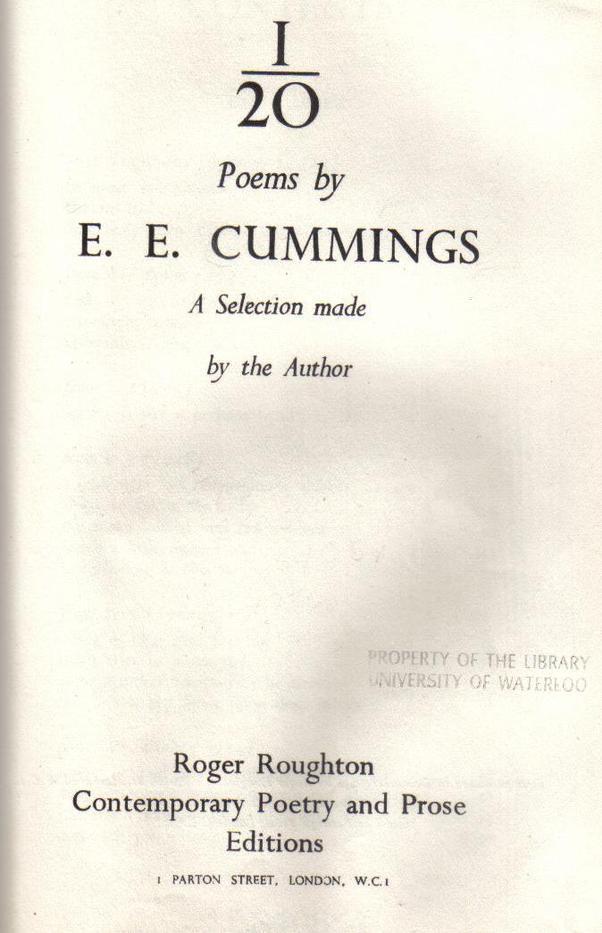 I/20 E.E. Cummings