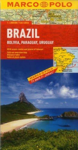 Brazil, Bolivia, Paraguay, Uruguay Map NOT A BOOK