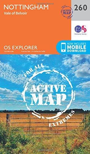 OS Explorer Map Active (260) Nottingham, Vale of Belvoir (OS Explorer Active Map) Ordnance Survey