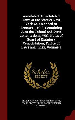 Annotated Consolidated Laws of the State of New York as Amended to January 1, 1910, Containing Also the Federal and State Constitutions, with Notes of Board of Statutory Consolidation, Tables of Laws and Index, Volume 3 Clarence Frank Birdseye