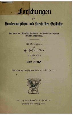 Forschungen Zur Brandenburgischen Und Preussischen Geschichte  by  Schmoller