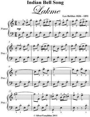 Indian Bell Song Lakme Easy Piano Sheet Music  by  Leo Delibes