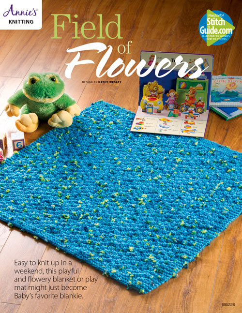 Field of Flowers Baby Blanket Knit Pattern  by  Annies
