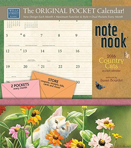 Country Cats Note Nook 24-Pocket 2016 Calendar  by  Susan Bourdet