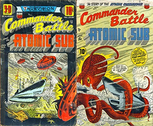 Commander Battle and the Atomic Sub. Issues 1 and 2. The Story of the Atomic Commander. Golden Age Digital Comics Military and War. Golden Age Military and War Comics