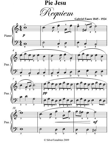 Pie Jesu Requiem Faure Easy Piano Sheet Music  by  Gabriel Faure