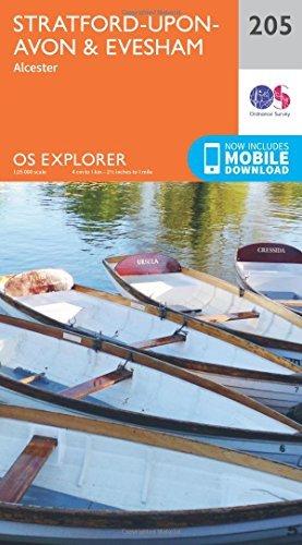 OS Explorer Map (205) Stratford-upon-Avon and Evesham Ordnance Survey