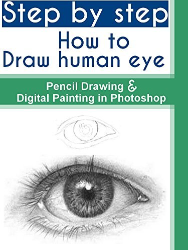 Step  by  step How to draw human eye With pencil Drawing and Digital Painting in Photoshop by mohandes kahraba