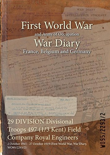 29 DIVISION Divisional Troops 497 (1/3 Kent) Field Company Royal Engineers : 2 October 1915 - 27 October 1919 (First World War, War Diary, WO95/2293/2) WO95/2293/2
