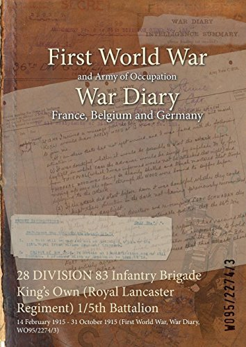 28 DIVISION 83 Infantry Brigade Kings Own (Royal Lancaster Regiment) 1/5th Battalion : 14 February 1915 - 31 October 1915 (First World War, War Diary, WO95/2274/3) WO95/2274/3