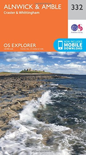 OS Explorer Map (332) Alnwick and Amble, Craster and Whittingham Ordnance Survey