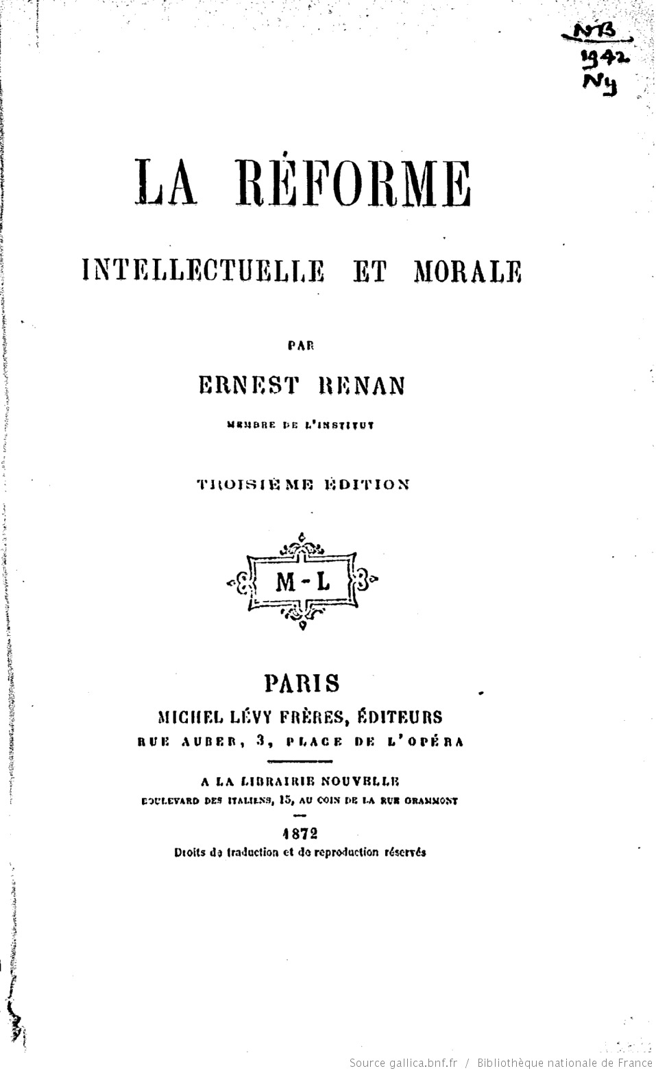 La Réforme Intellectuelle et Morale de la France  by  Ernest Renan
