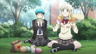 Shiraishi and Yamada eating