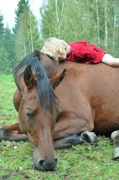 girl lying on horse's back