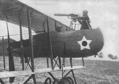 Biplane with rear-facing machine gun